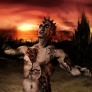 Apocalyptic Syndrome - Posessed Biomech Man in the Desert with Dark Castle Death Metal Artwork Design