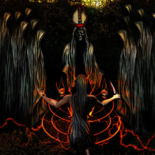 Ayin Hara, The Oath - Black Metal Album Artwork Design with Satanic Ritual in the Woods