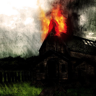 Burning Lies - Black Metal Album Artwork Design with Church in Flames
