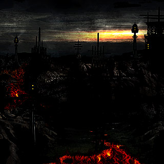 City of Burning Rivers - Inferno Volcanic Landscape Black Metal Album Artwork
