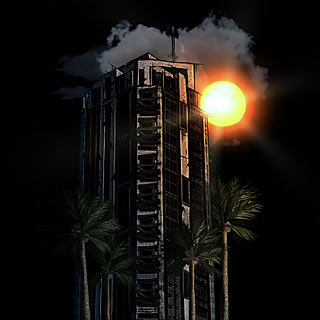 LA Tower and Palms on Sundown Dark Shirt Artwork