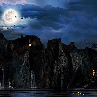 Midnight at Ravencreek - Black Doom Metal Artwork Design with Dark Ancient City on the Rocks