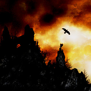 Perfection of Solitude - Tower on the Rocks with Sundown and Ravens Doom Metal Album Artwork Design