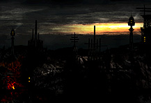 The City of Burning Rivers Artwork with Dark Dead Town Demonic Lava rivers fantasy towers, dark skies