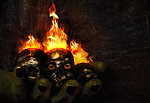 MB The Goblin's Hand Artwork, witcher's hand with alive burning skulls