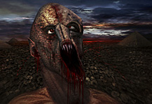 The Undead Artwork, Zombie with smashed head in the cursed desert with lava and stormy sky