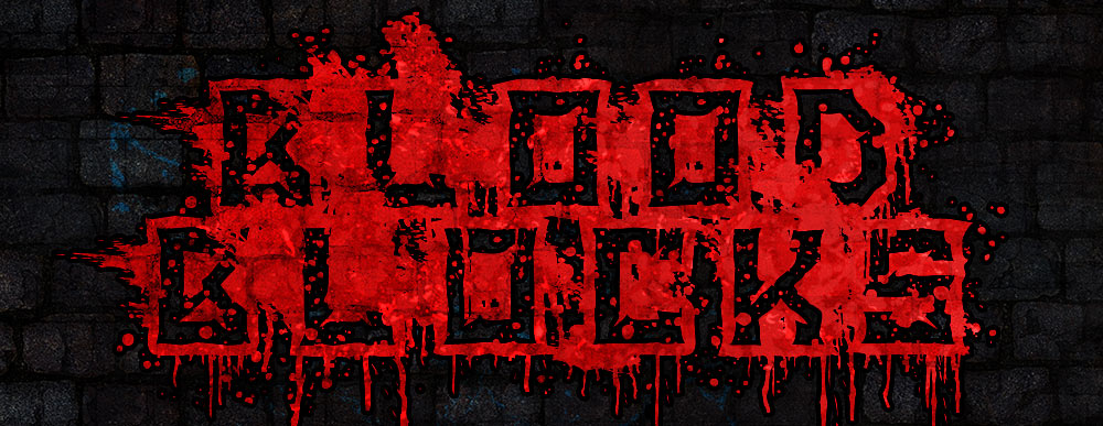 Bloody Brutal Square Font Design with Splatter and Drips