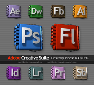 MB Adobe Creative Suite Custom Dock Icons ICO PNG CS5 CS5 CC