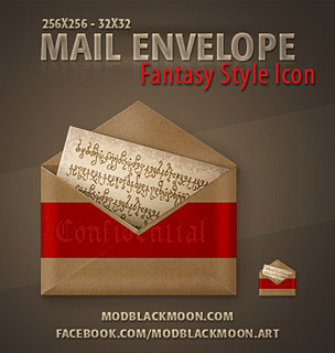 Mail Envelope Fanrasy icon PNG ICO, antique, old, red ribbon, elvish letter