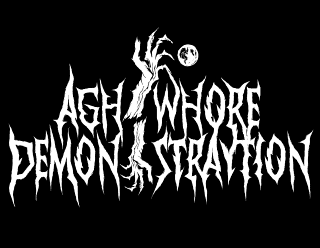 Agh'whore Demon-Straytion - Black Metal Band Logo Design with Crooked Hand and Moon