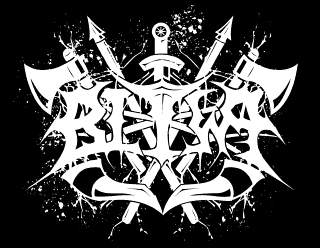 Pagan Black Metal Band Logo Design with Axes, Sword, Spears and Horns