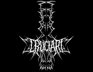 Cruciari - Raw Black Metal Band Logo Design with Inverted Cross