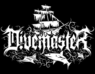 Divemaster - Elegant Black Metal Logo Design with pirate Ship and Sharks