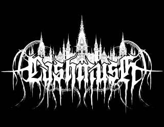 Lashmush Raw Black Metal Band Logo Drawing with Evil Fantasy Castle