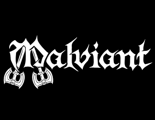 Malviant - Traditional Heavy Metal Band logo design with crossed axes