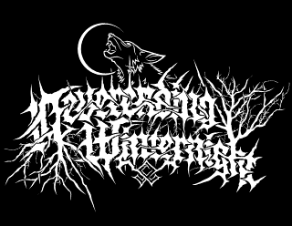 Neverending Winternight - Pagan Black Metal Logo Design with Howling Wolf, Moon and Trees