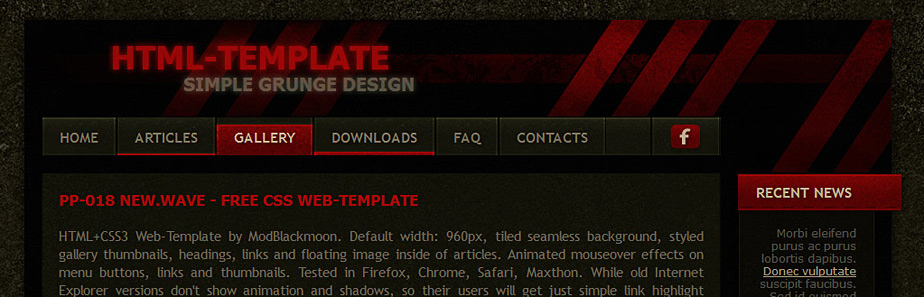 ModBlackmoon | Free Dark & Grunge HTML+CSS Web Template Designs