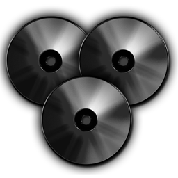 Dark Compact Discs, Audio CD Collection, DVD Data free 256px Icon for Interface and Web-Design