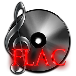 FLAC Lossless Audio File Free Dark Neon red Icon 256px for Design