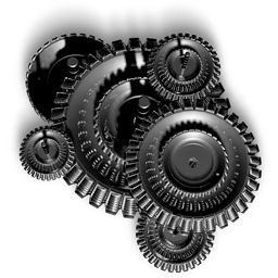 Gears, 3D Dark Gray Icon, Settings PNG 256px Clipart for Design