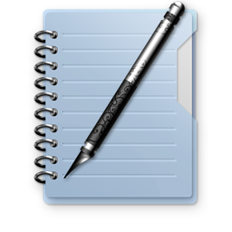 Notepad with Blue Plastic Cover and Pen Stock Icon 256px with Transparent Background for Design