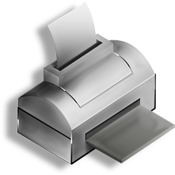 Gray Printer Transparent Stock Icon for Web-Design, Interfaces, 256 pixels