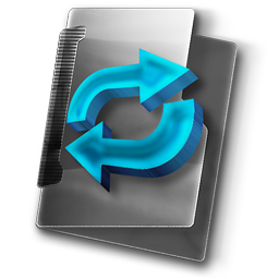 Temporary Folder, Shared Directory free Stock Icon with Gray Folder and Blue 3D Arrows