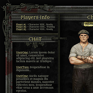Steampunk, Horror Game Interface Design, Lobby, Inventory Screen