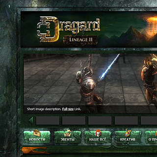 Fantasy Game Portal Web-Template Preview with Glass Panel and Glowing Buttons