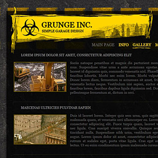 Preview Dark Grunge Industrial Web-Design style with bright yellow elements