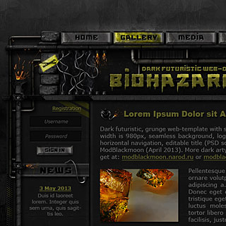 Preview Dark Industrial, Sci-Fi web-template Design with grunge textures, steel pipes, sparkles, wires