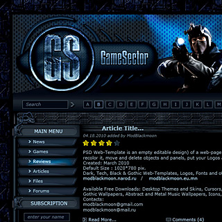 Hi-Tech Futuristic Dark blue Game Portal Web-Site Template Screenshot with Wires and Glowing Elements