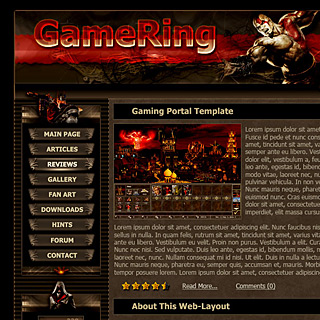 Dark Fantasy Gaming Portal Web-Template Design Screenshot