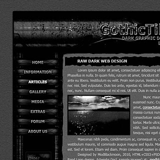 Dark Gothic Web-Template Screenshot with Rough Torn Edges