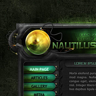 Nautilus Screenshot - Sci-Fi Futuristic Bright web-Design with Glowing Orb, wires and sparkles, spaceship style