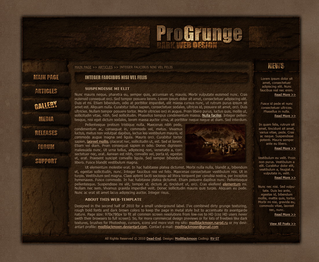 modblackmoon unique dark grunge gothic horror web design
