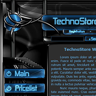 Futuristic Hi-Tech Dark Web-Site Design Screenshot with Black Plastic panels, chrome elements and bright blue Displays
