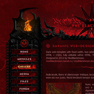 Dark red, infernal web-design Screenshot with satanic fire chalices, gothic vampiric black ornaments and sigils