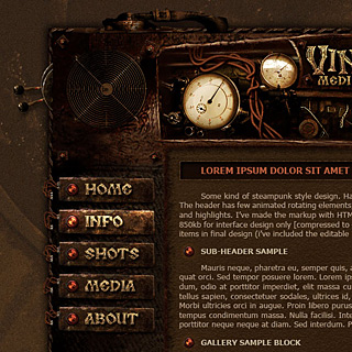 Steampunk, Grunge Web-Design Screenshot with wires, mechanics, cogs, toggles, meters, gears, dwarven machine