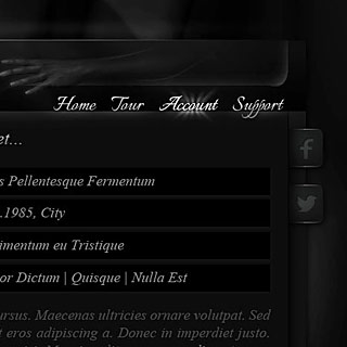 Dark aesthetic gothic Web-Design Screenshot with Vampire Theme
