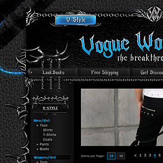 Dark Gothic, Emo, Metalhead, Punk Clothing and Accessories Market Web-Design Screenshot with Chains